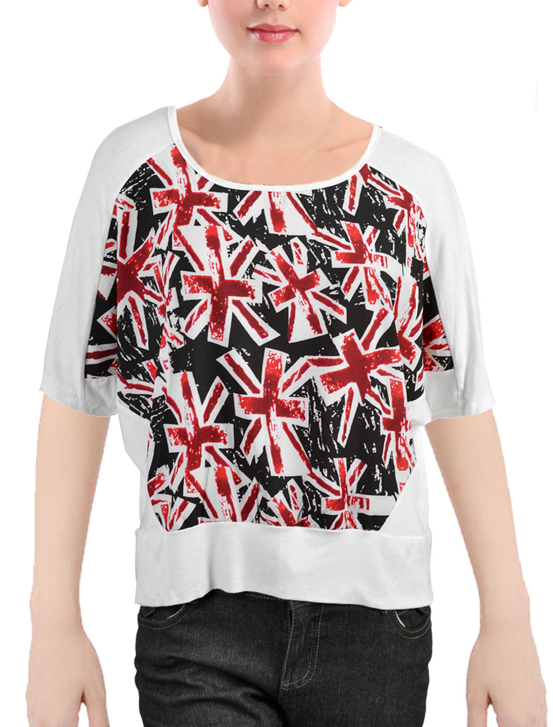 Woman White Burgundy Black Union Jack Print Batwing Sleeves Blouse Top Shirt XL