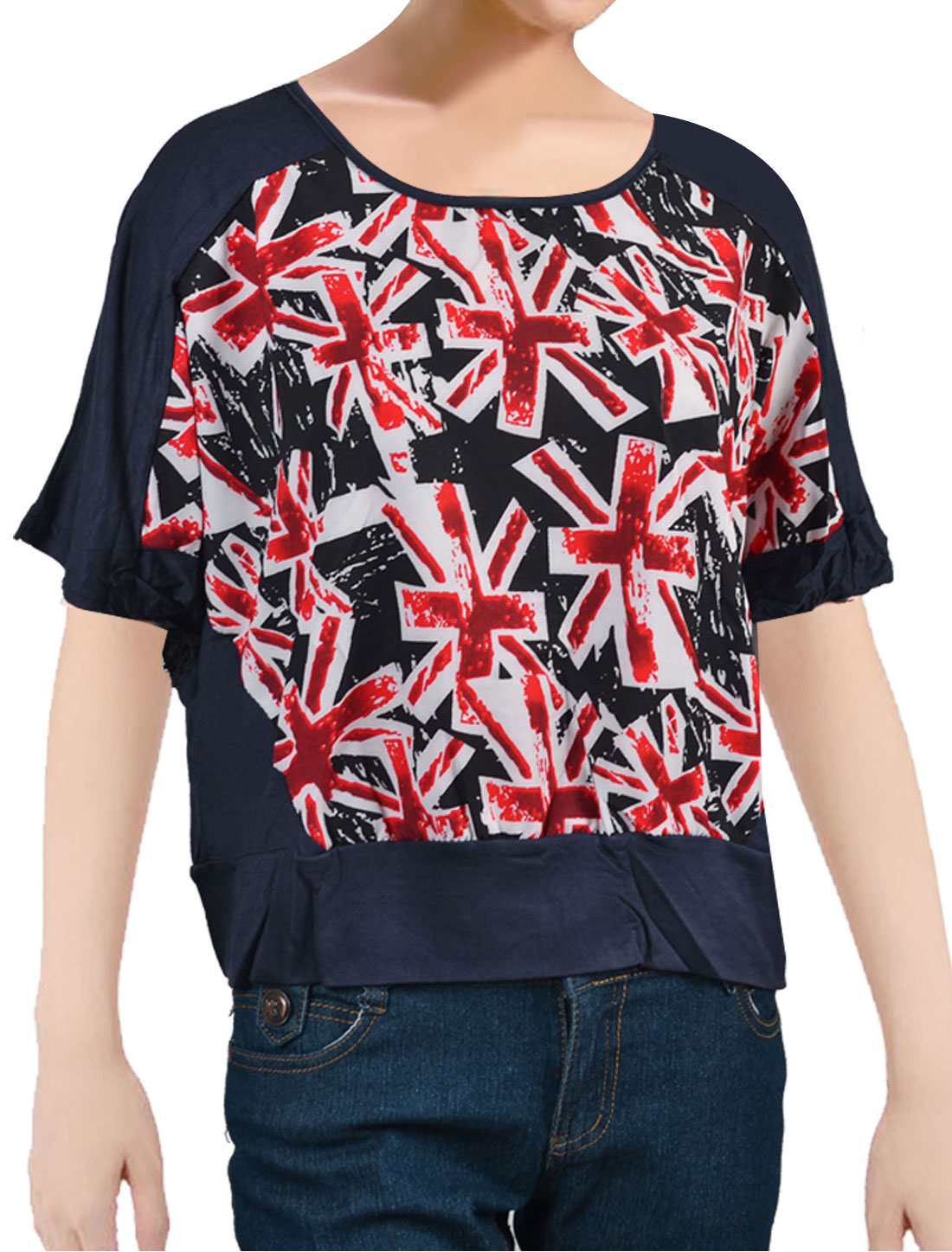 Woman Blue Union Jack Pattern Batwing Sleeves Blouse Top Shirt XL