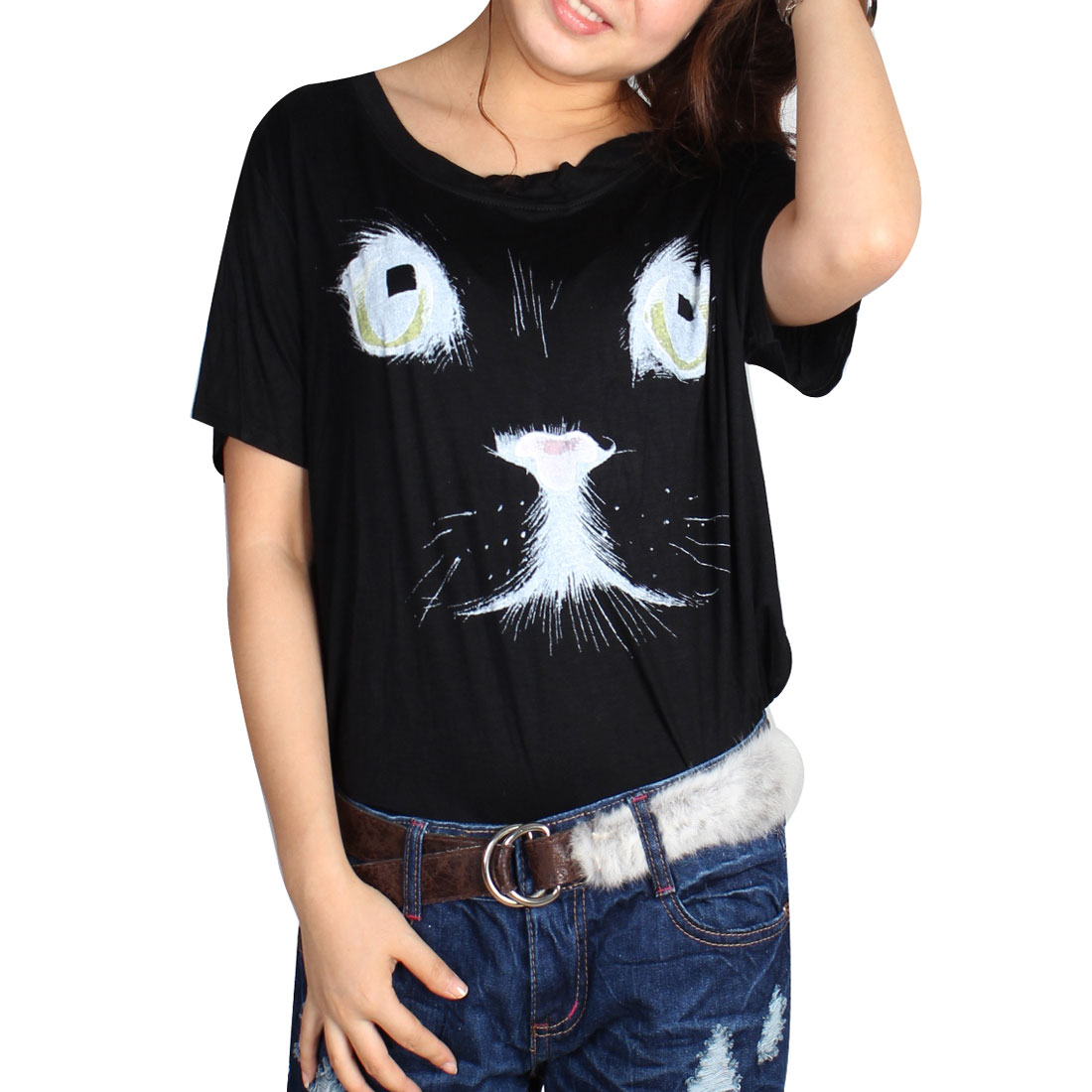 Short Sleeves Round Neck Cat Pattern Loose T-Shirt Black M for Lady