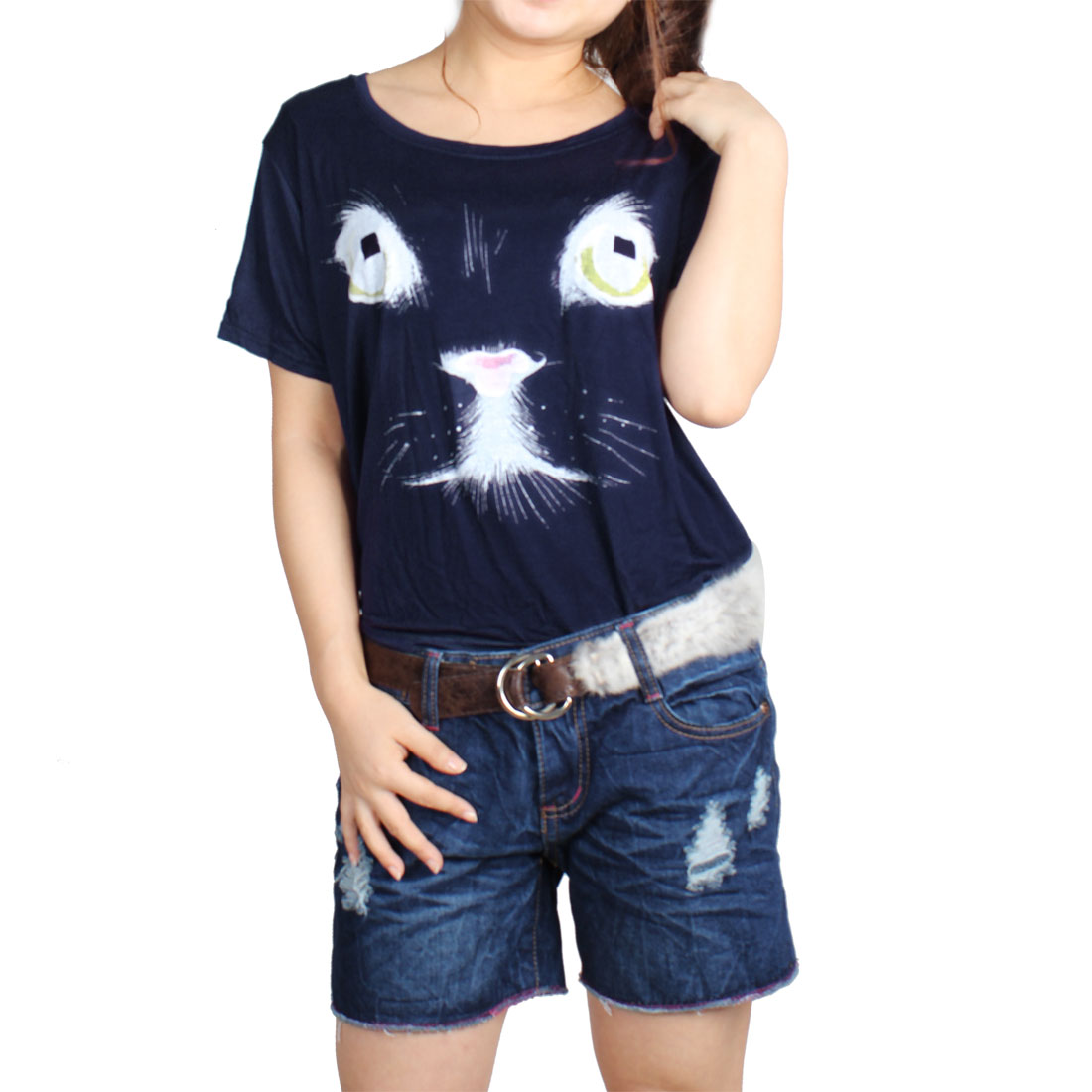 Short Sleeves Round Neck Cat Pattern Loose T-Shirt Blue M for Lady