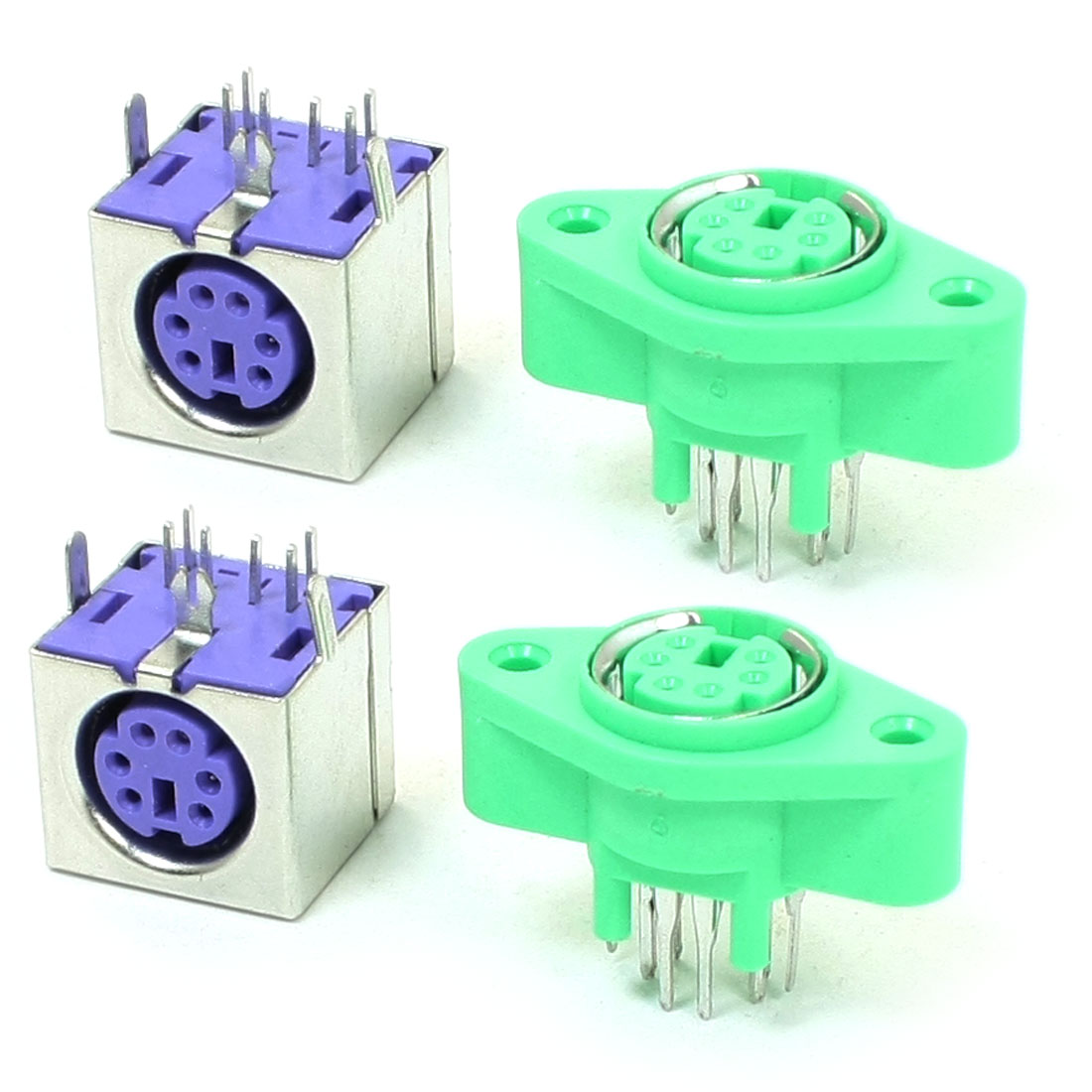 4 Pcs PCB Mount 6 Pin Female S-video Mini Din Sockets Green Purple