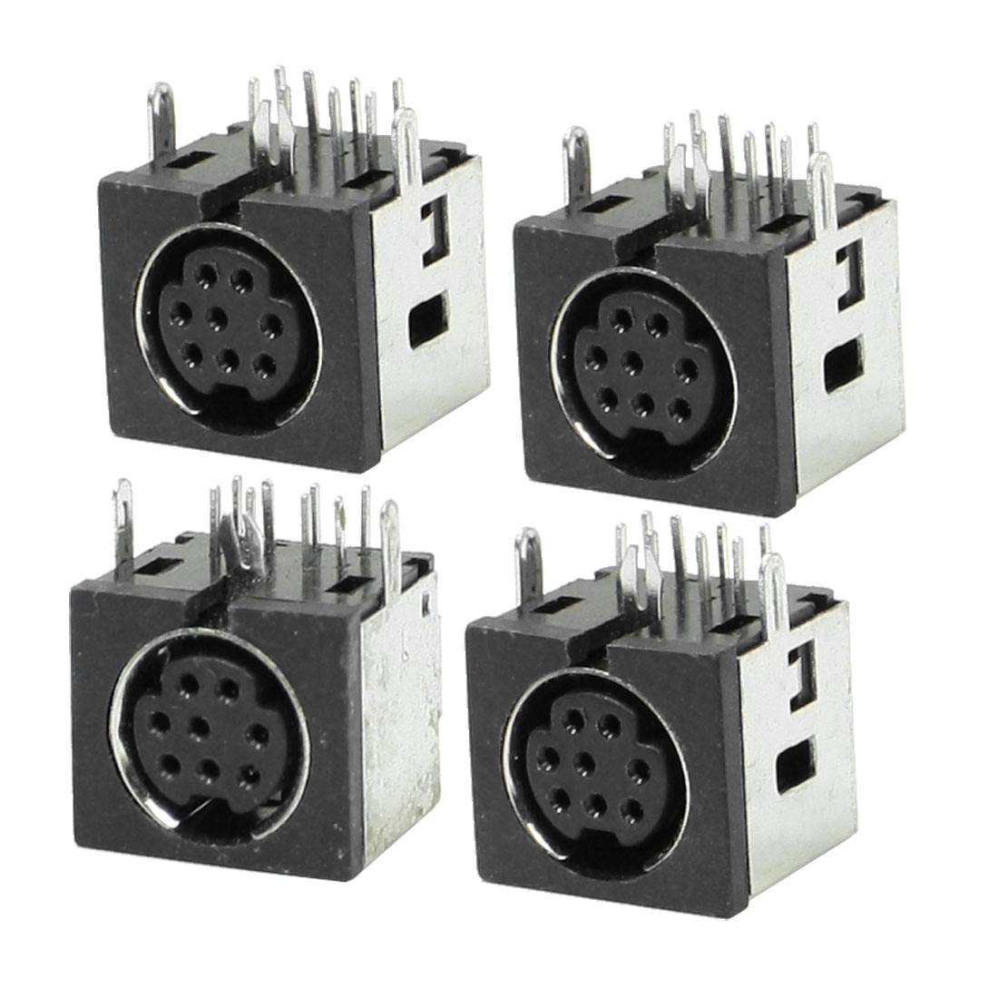 4 Pcs Metal Case S-video 8 Pin Female PCB Mount Mini Din Sockets