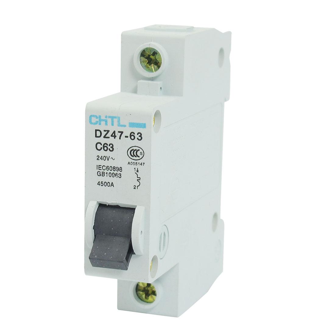 4500A Breaking Capacity 1P Overload Miniature Circuit Breaker AC 240V 63A
