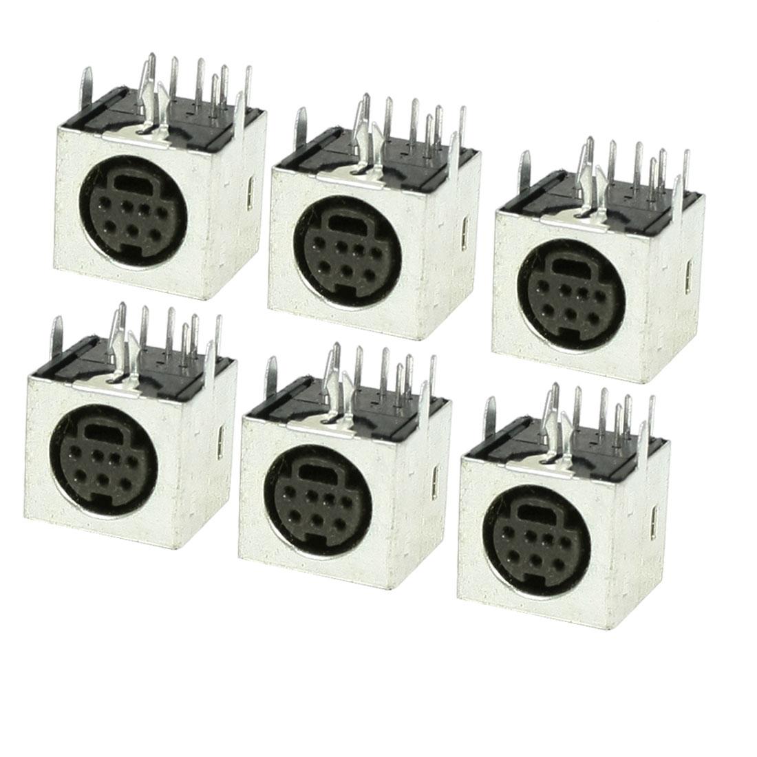 6 Pcs Metal Shell S-video 7 Pin Female PCB Mount Mini Din Sockets