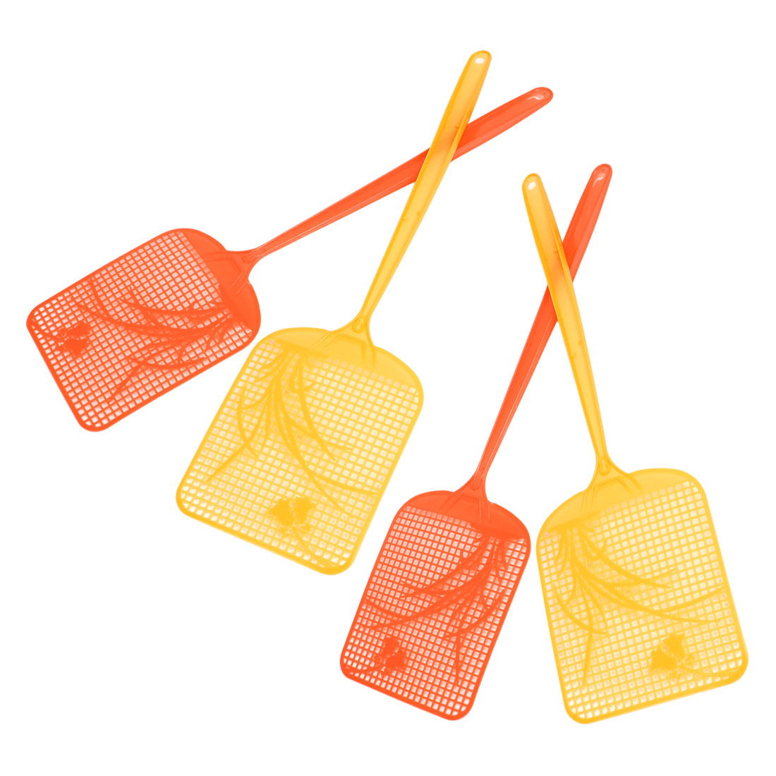 Yellow Orange Red Grass Printed Plastic Bug Insect Fly Swatter Striker 4 Pcs