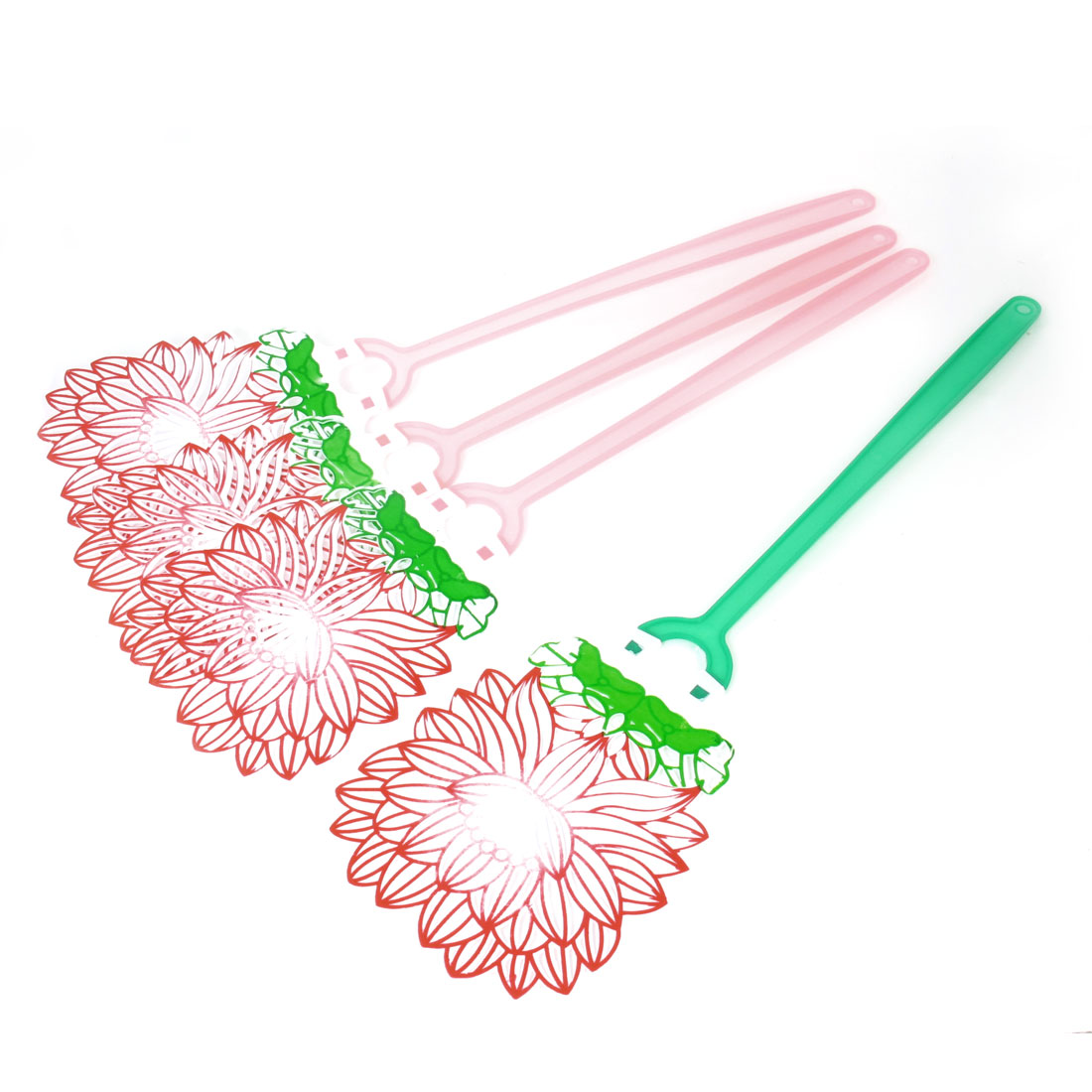 4 Pcs Green Pink Handle Grip Red Lotus Mosquito Cockroach Fly Swatter Flapper
