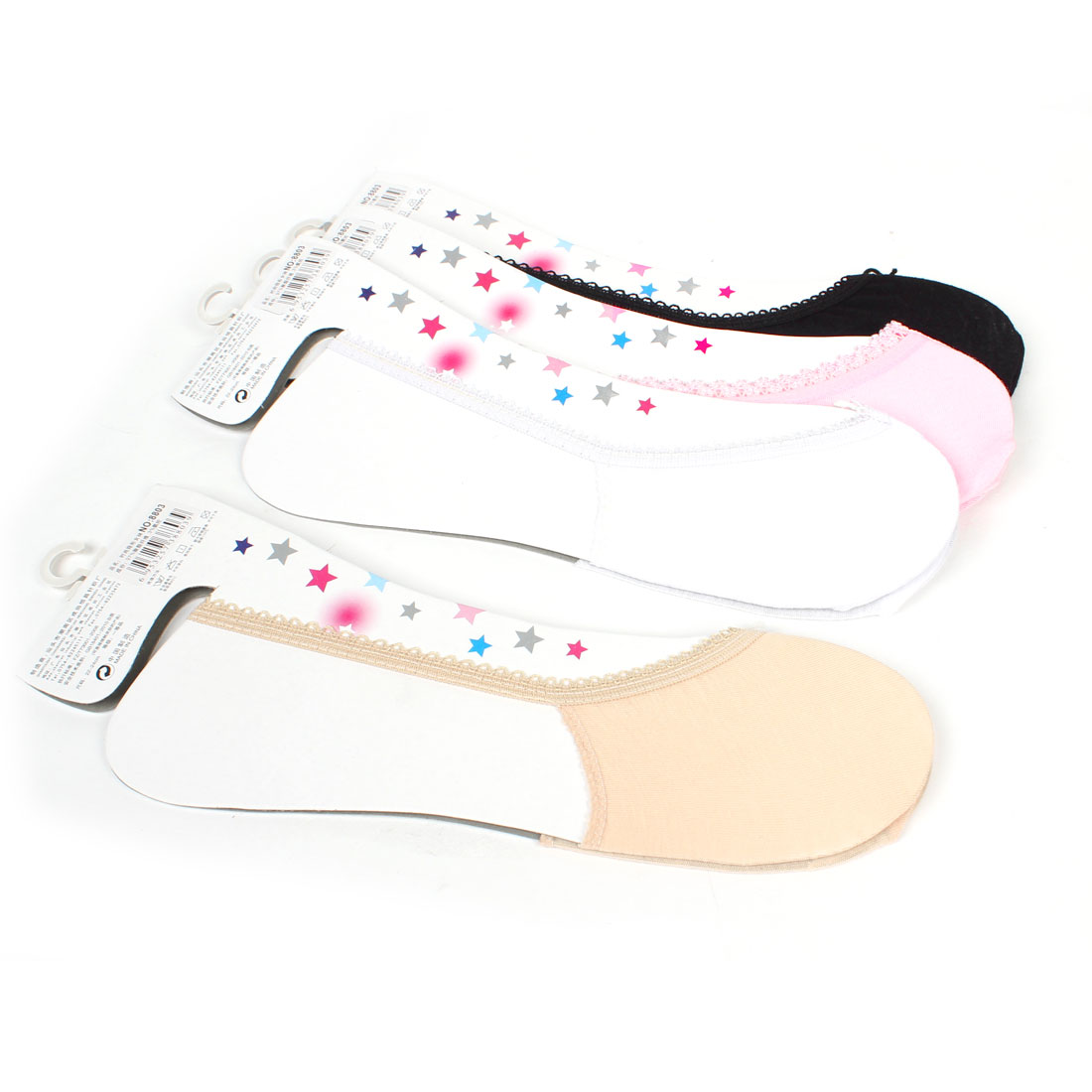 4 Pair Colored Invisible Non Slip Lace Edge Cotton Socks for Ladies Women