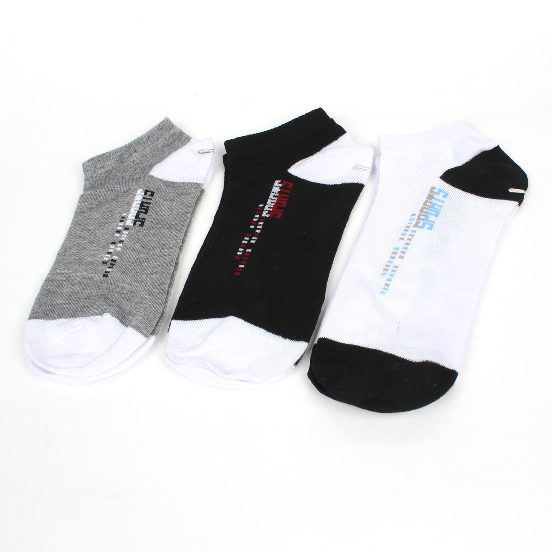 Men Elastic Cuff Low Cut Sports Ankle Socks Black Gray White 3 Pairs