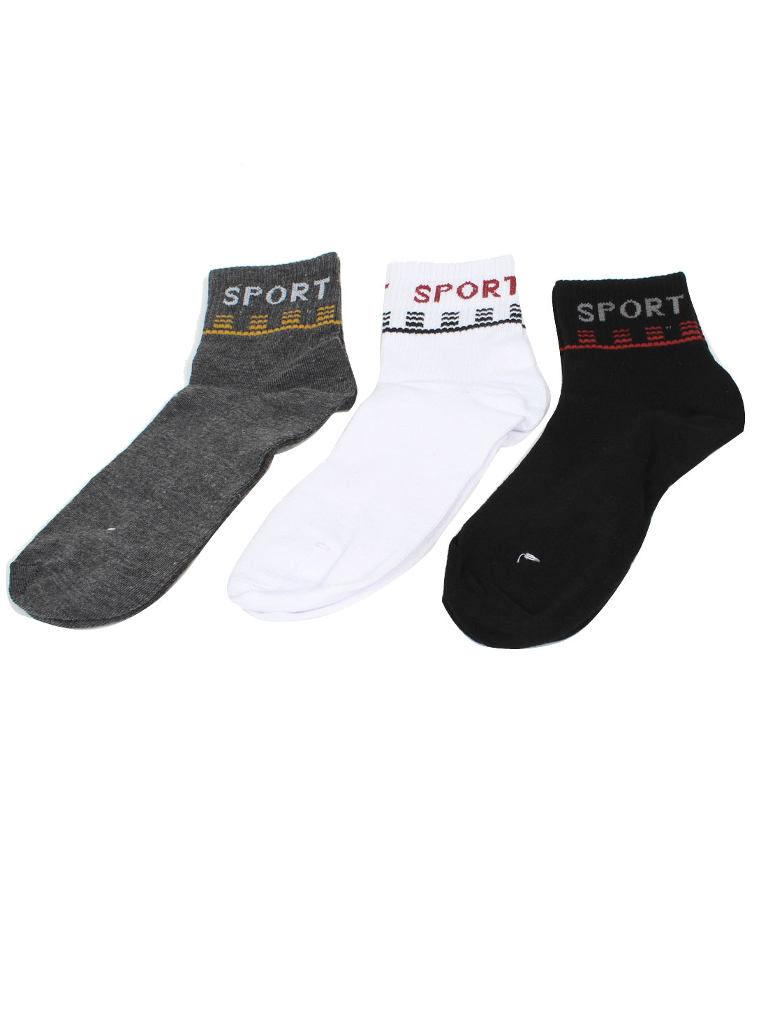 3 Pairs Gray Black White Stretchy Cuff Sports Ankle Socks for Man