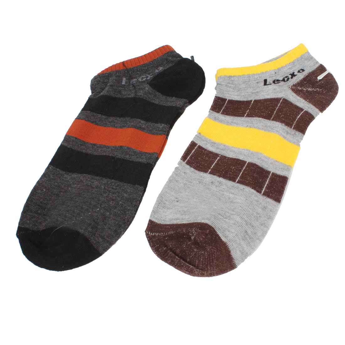 2 Pairs Colord Elastic Cuff Stripes Pattern Sports Ankle Socks for Man