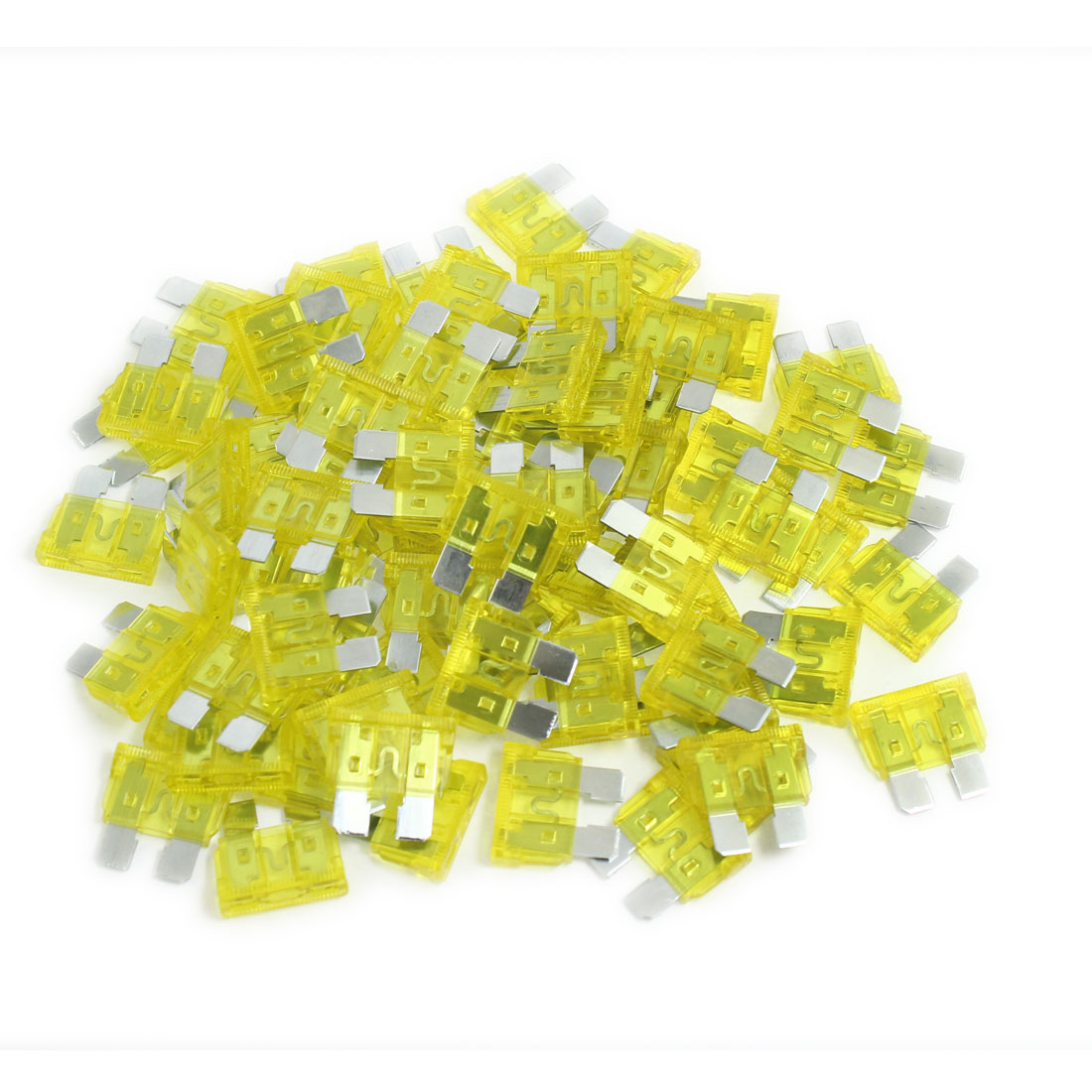 Car SUV Yellow ATS Blade 20A Plug-in Fuses 100 Pcs