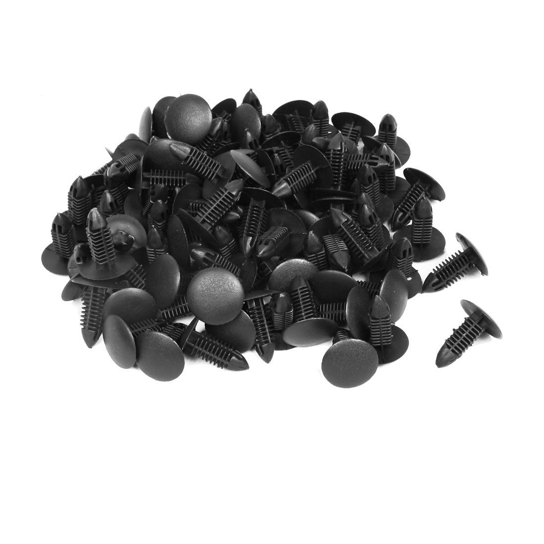 250 Pcs Car Bumper Fender Black Plastic Rivets Screw Fastener 6.5mm Hole