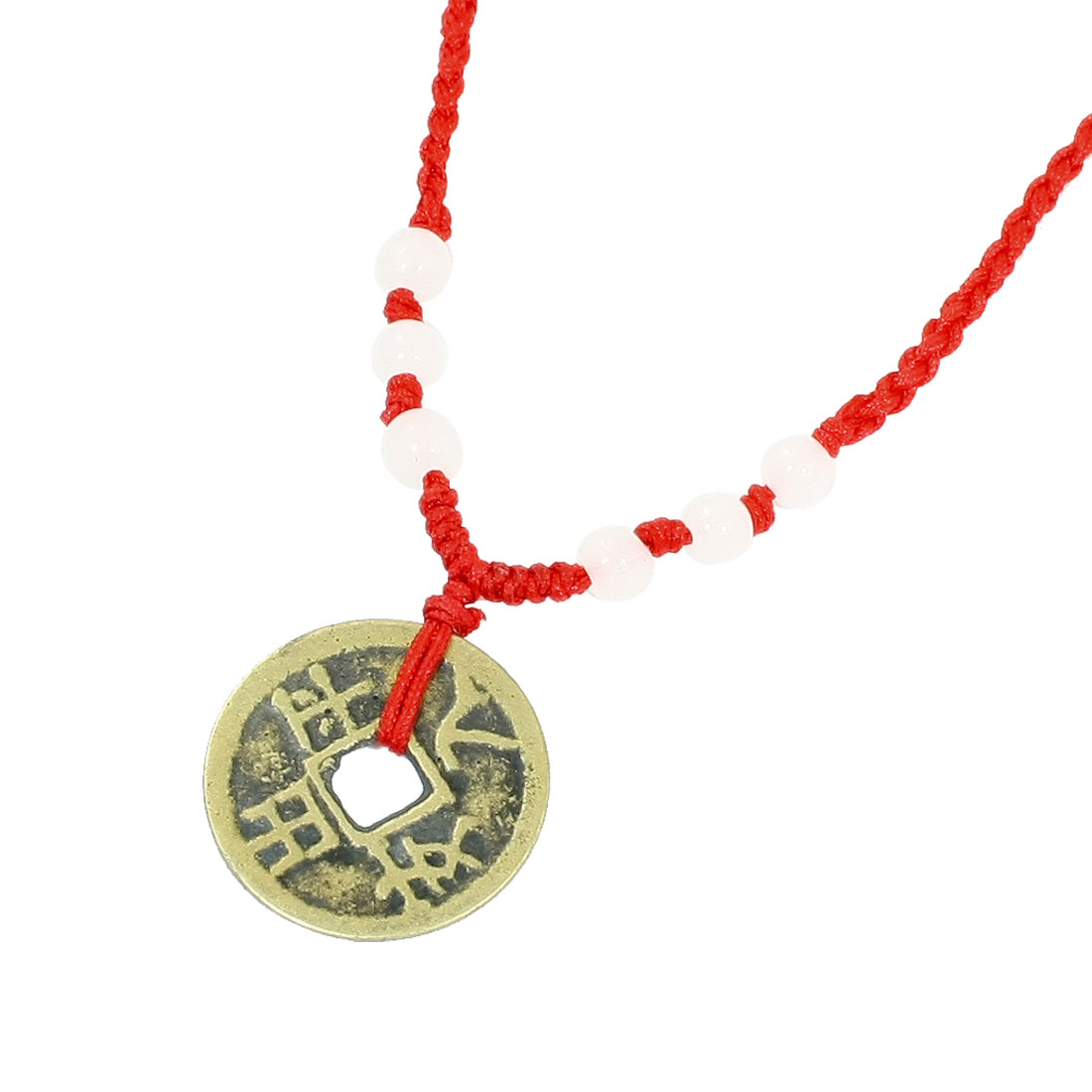 Red String Faux Beads Decor Bronze Color Metal Coin Pendant Necklace
