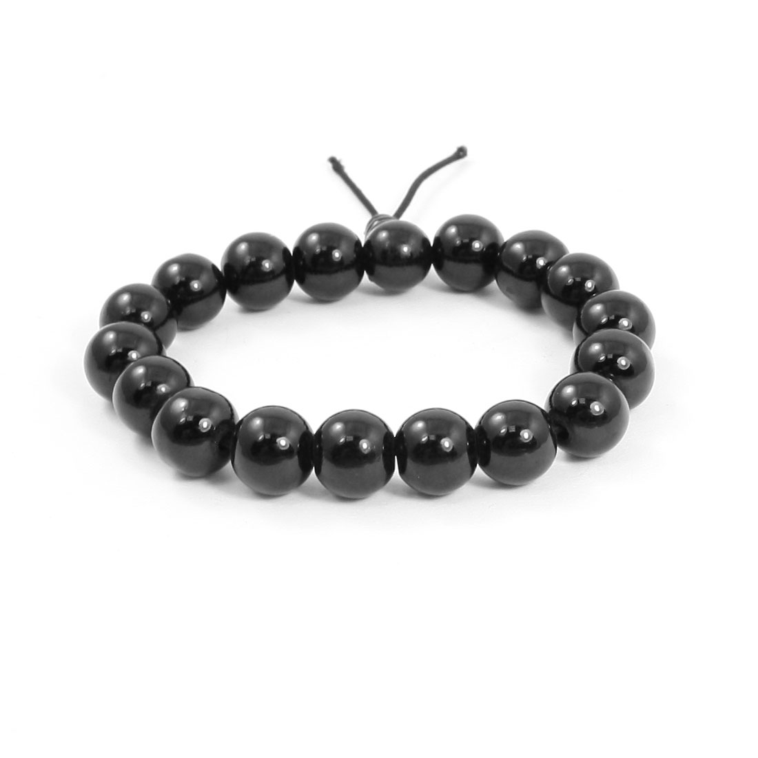 Lady Elastic Band Black Plastic Beads Decoration Waist Bracelet