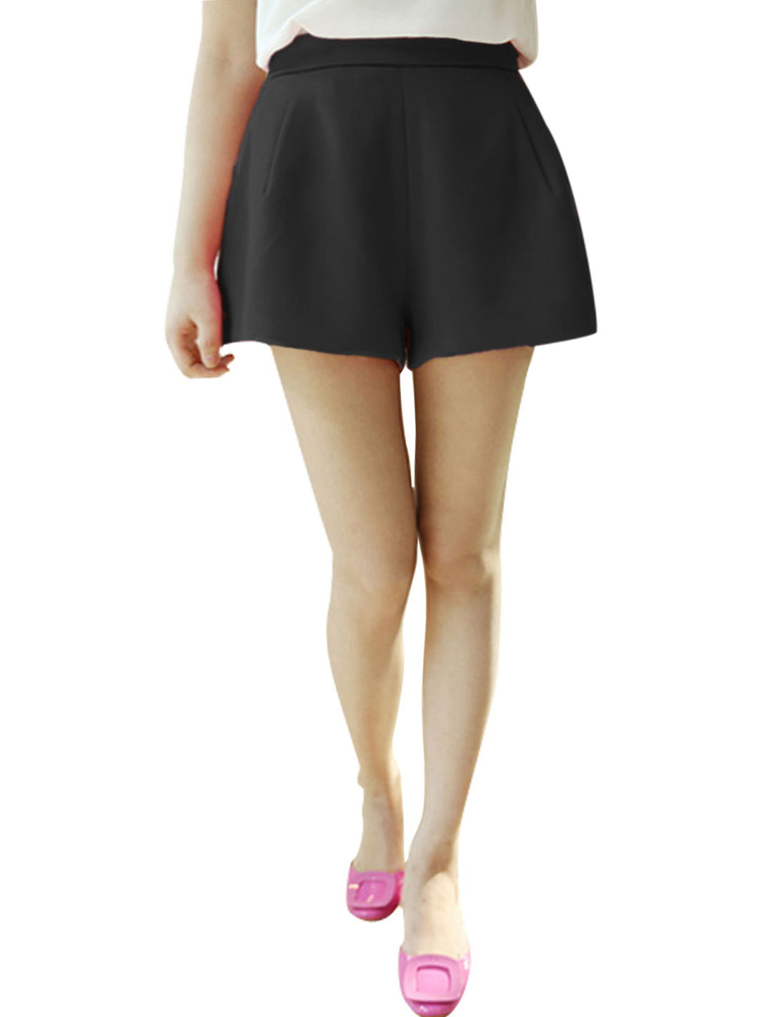 Lady Solid Black Color Zip Fly Closure Back Summer Short Shorts XS