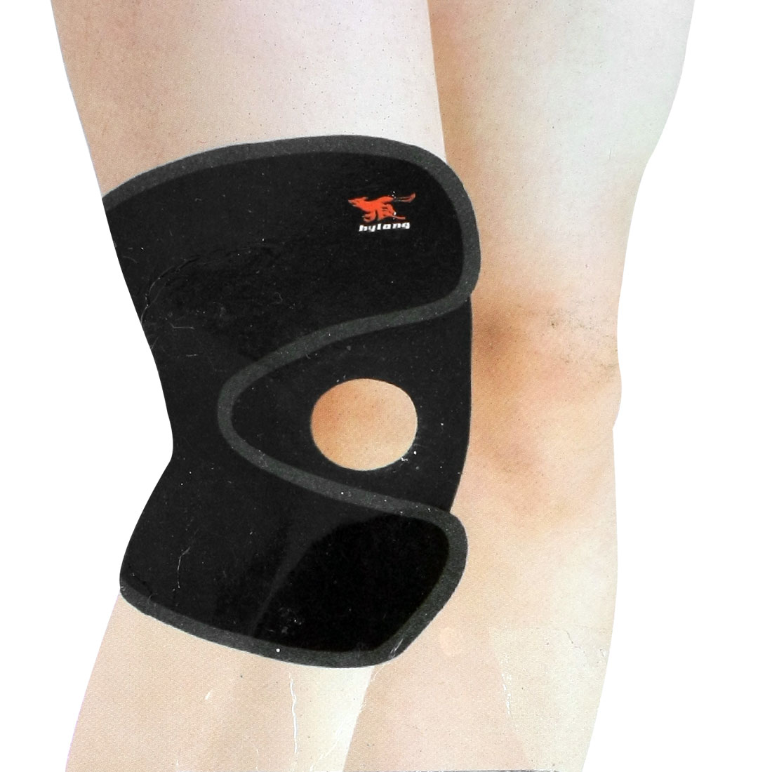 Detachable Fastener Rubber Stretchy Knee Support Brace Black