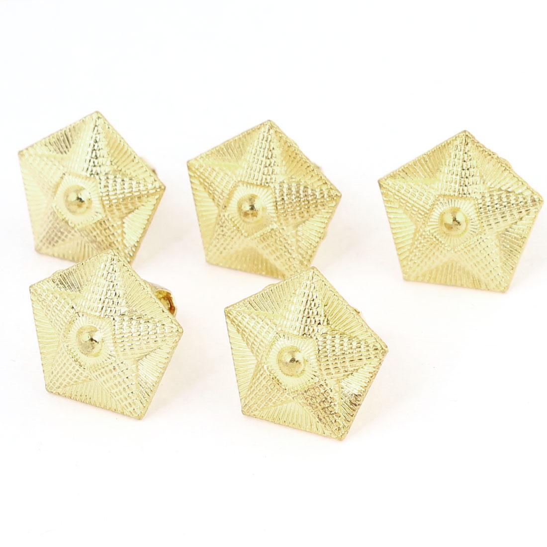 19mm x 19mm Gold Tone Pentagon Shaped Metal Knob Pull Head 5 Pcs