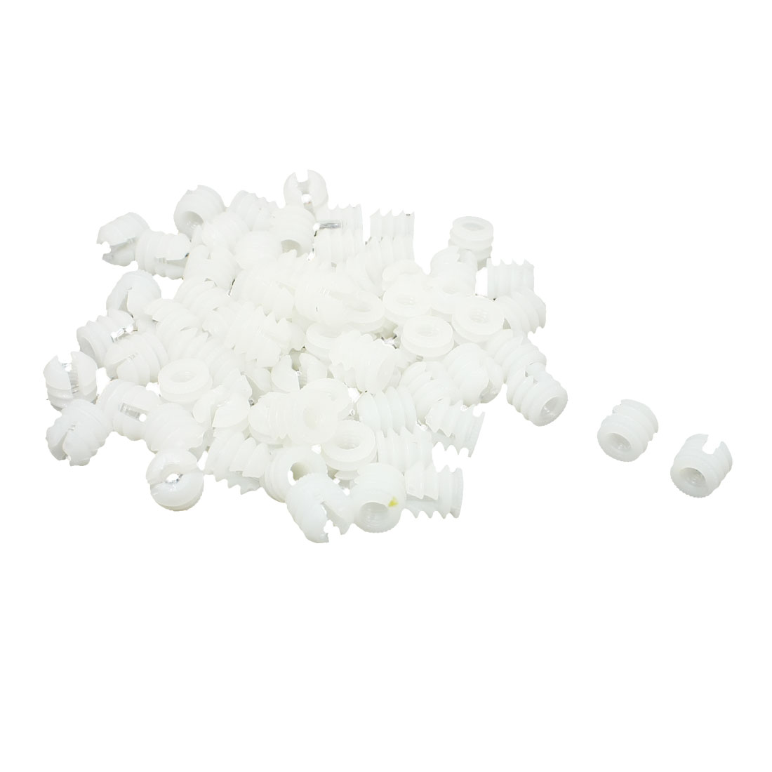 70 Pcs Furniture Connector Fittings White Hard Plastic Pre-inserted Nut