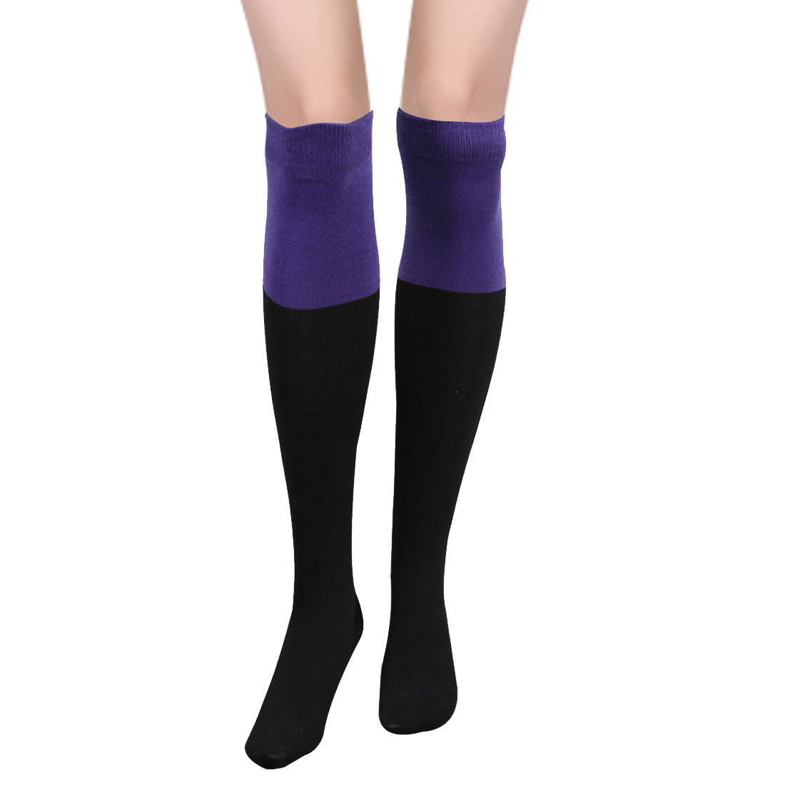 Womens Purple Top Textured Ribbed Knit Leg Warmers Stocking Black Pair