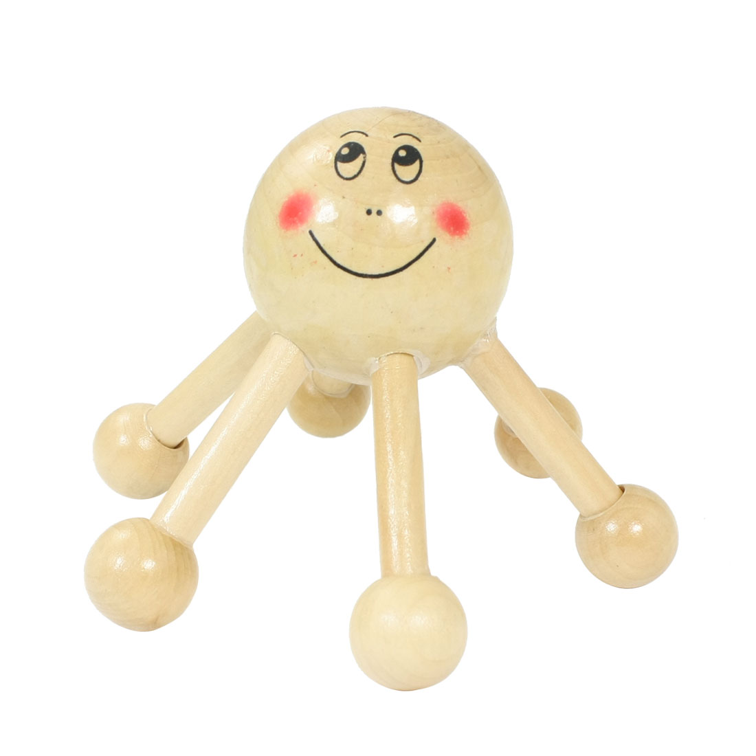 Smiling Face Head Rolling Ball Legs Round Point Head Dark Beige Wood Massager