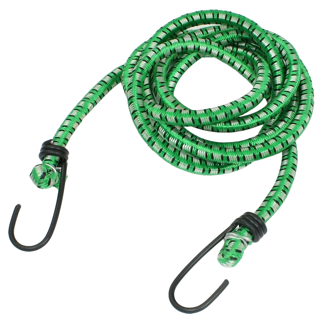 1.5M Long Green White Elastic Double Hook Bicycle Luggage Cord