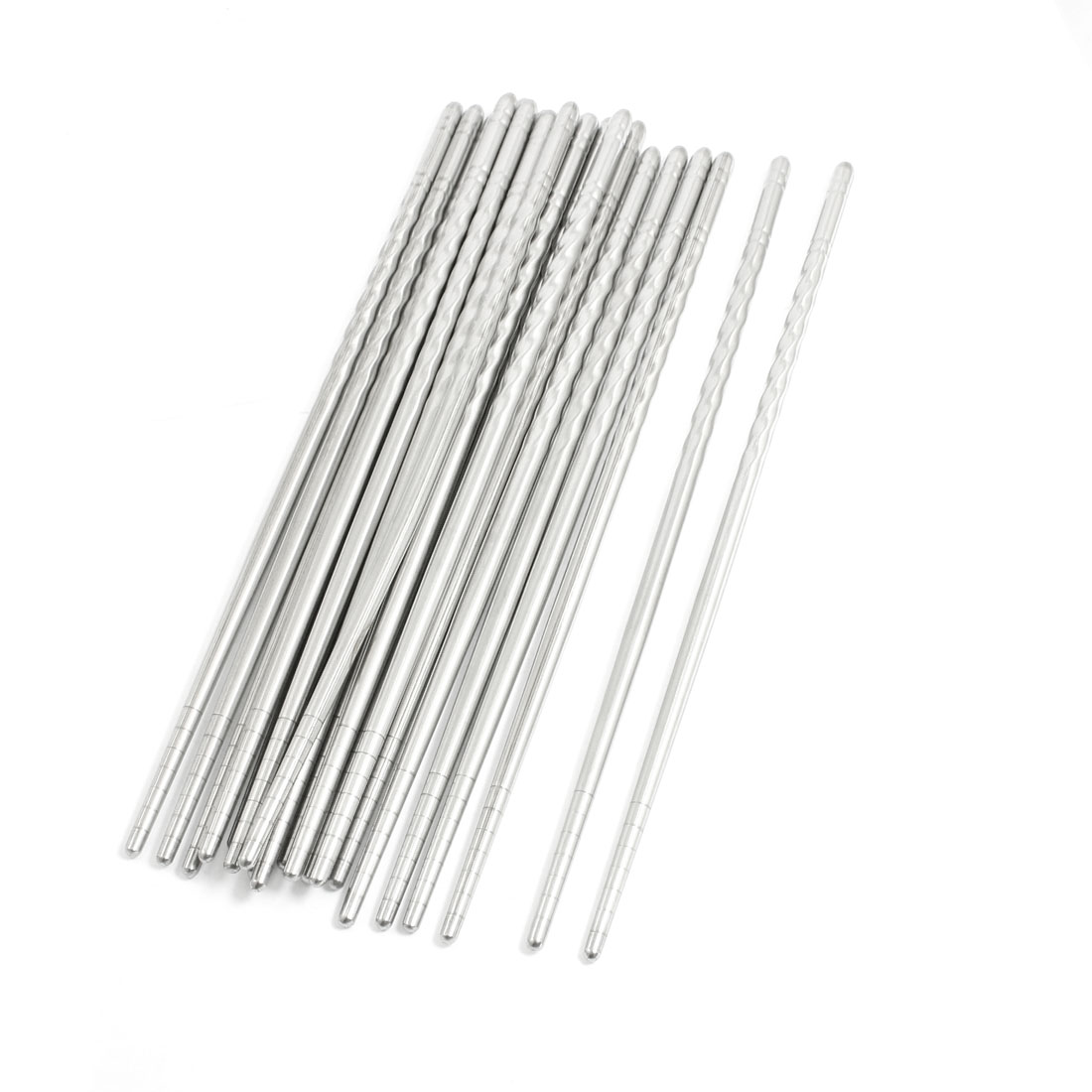 "10 Pairs 8.8"" Long Silver Tone Stainless Steel Chinese Chopsticks"