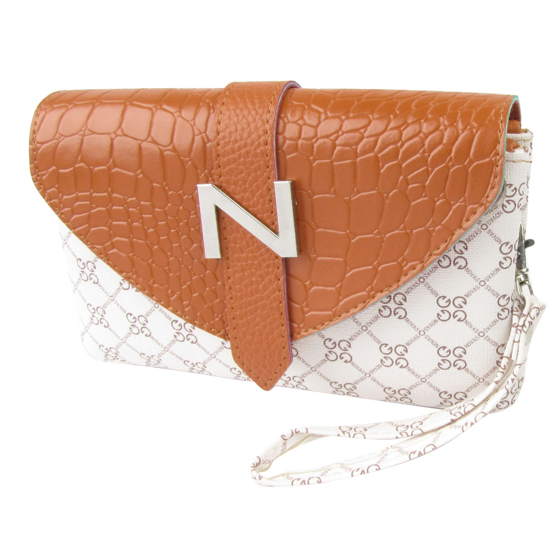 Lady 3 Compartments Letters Print Faux Leather Handbag Shoulderbag Orange White