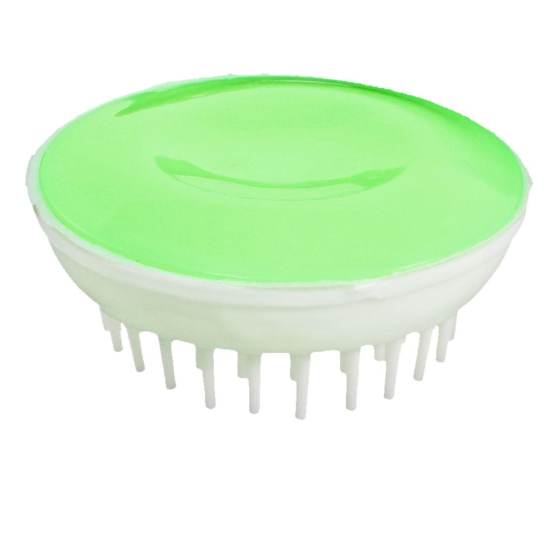 "2.8"" Dia Green White Hair Scalp Body Massage Massager Shampoo Brush Comb"