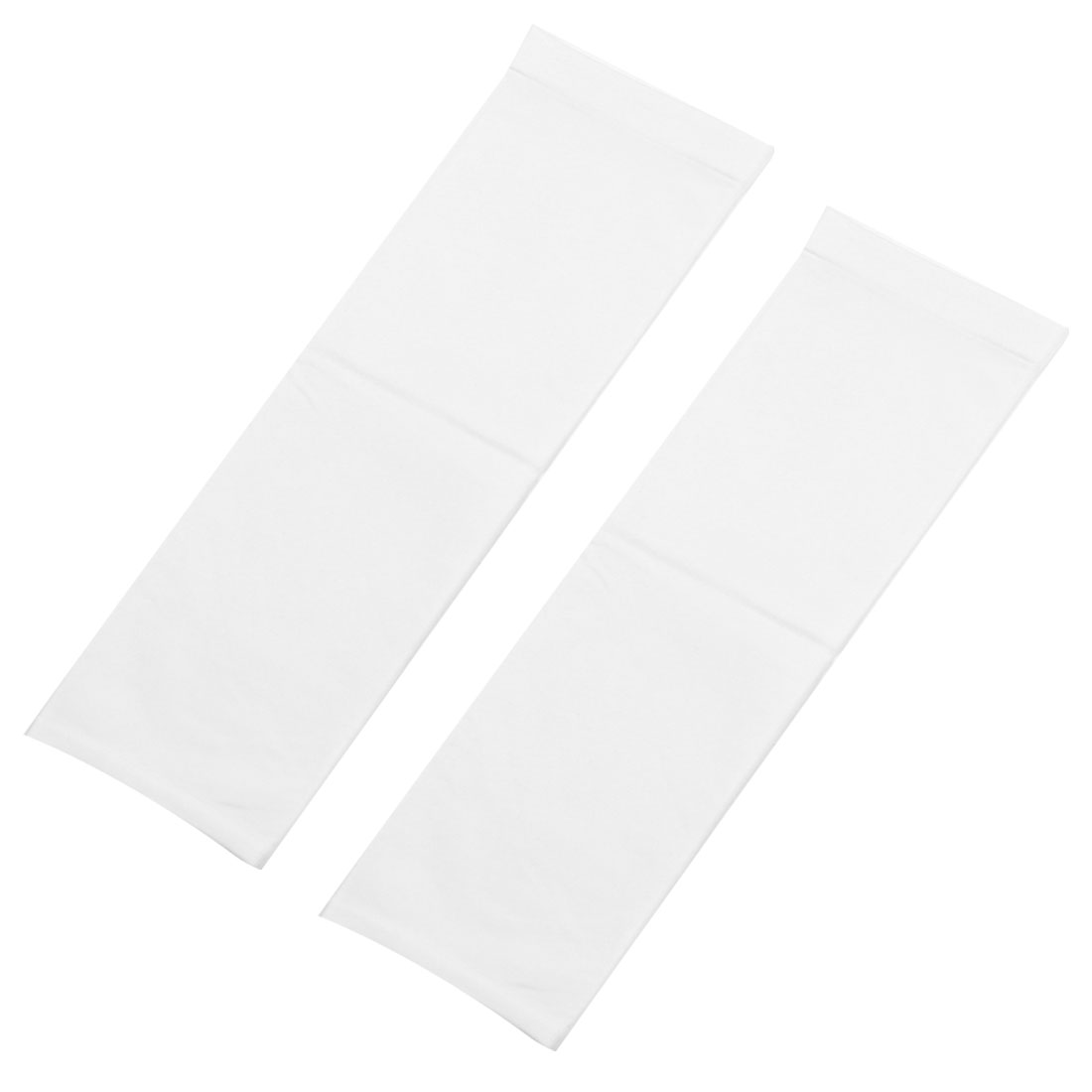 Pair Elastic Spandex Fingerless Winter Arm Warmers Long Gloves White for Adults