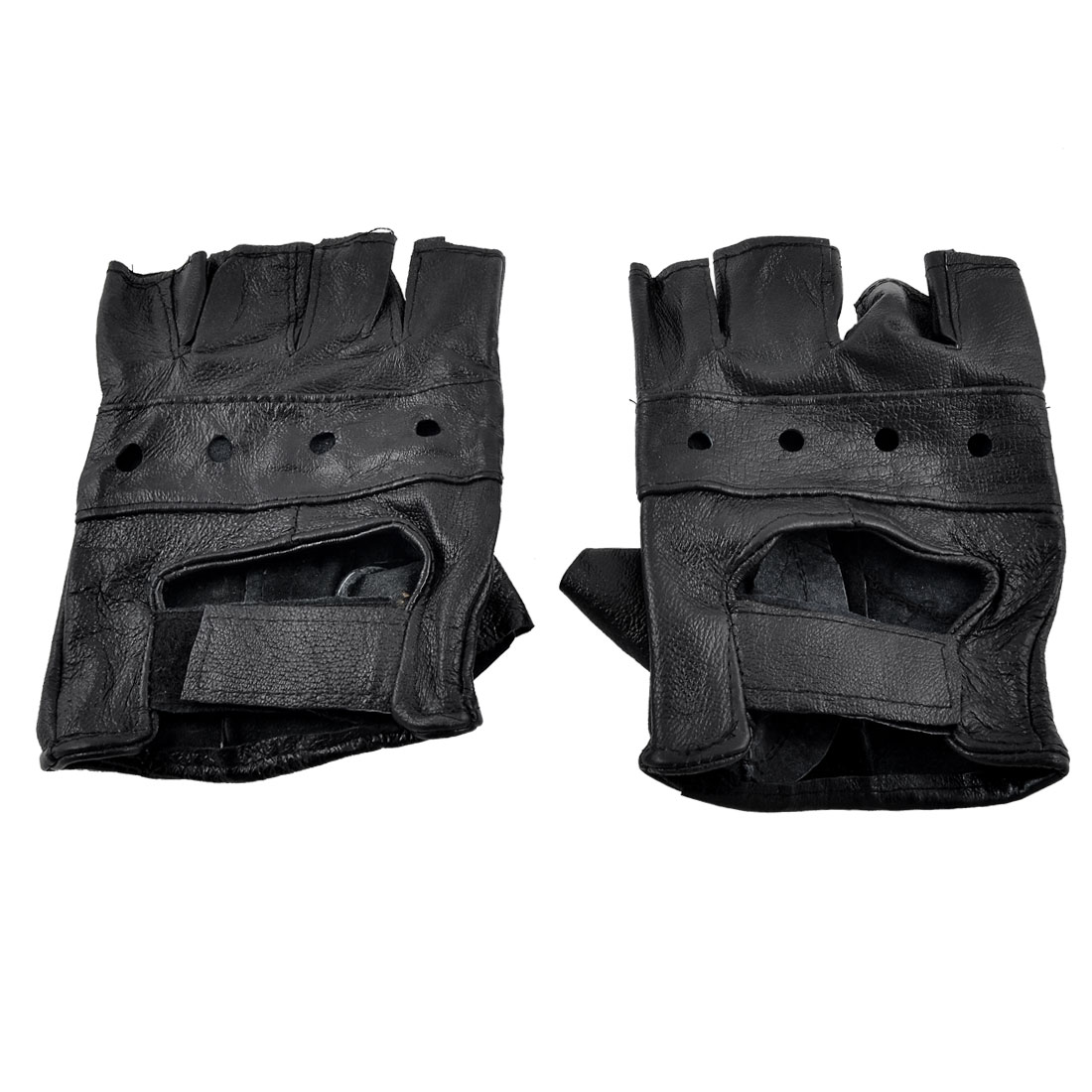 Pair Detachable Closure Black Faux Leather Driving Gloves for Man