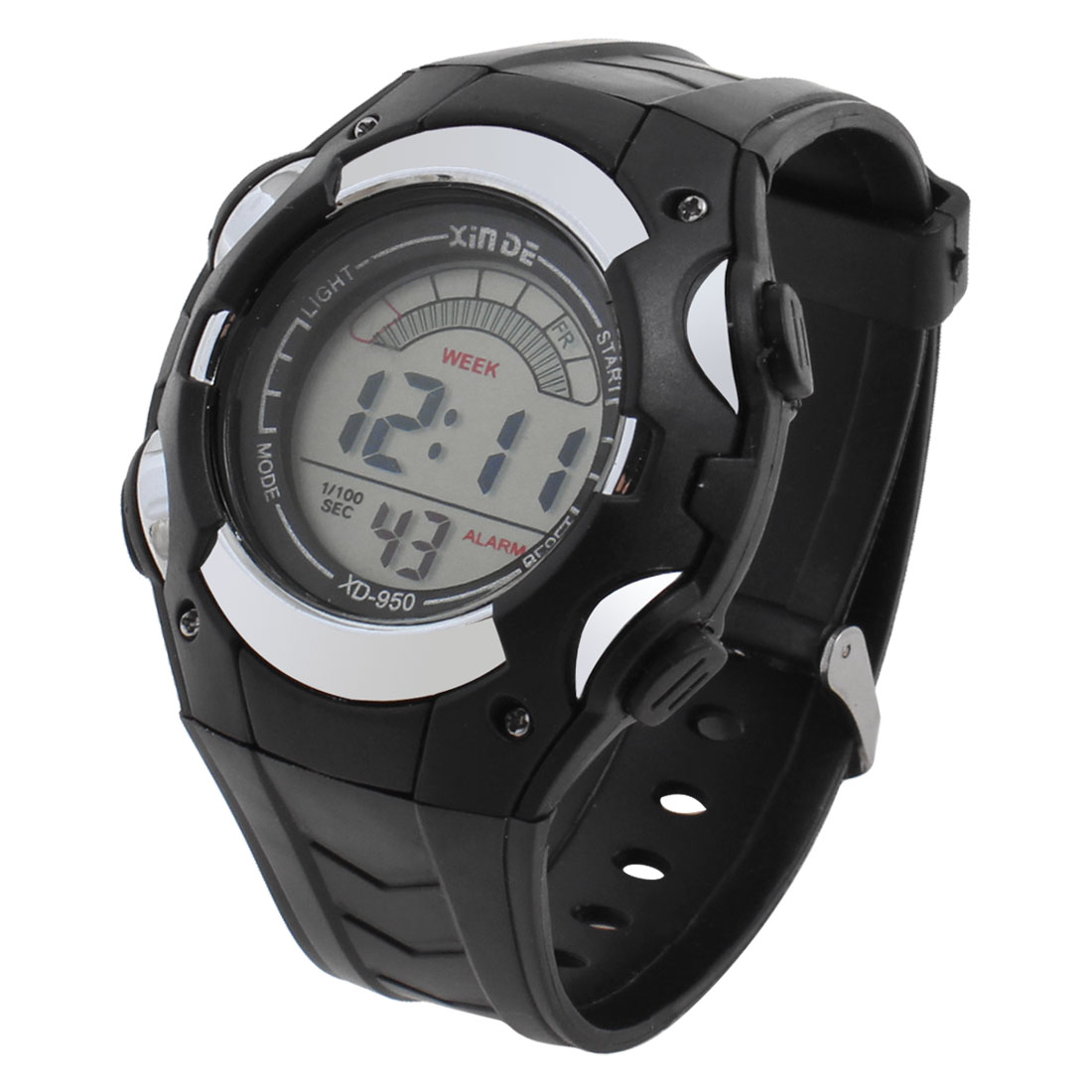 Man Plastic Band Multifunctional Sport Running Alarm Cold Light Watch Black Gray