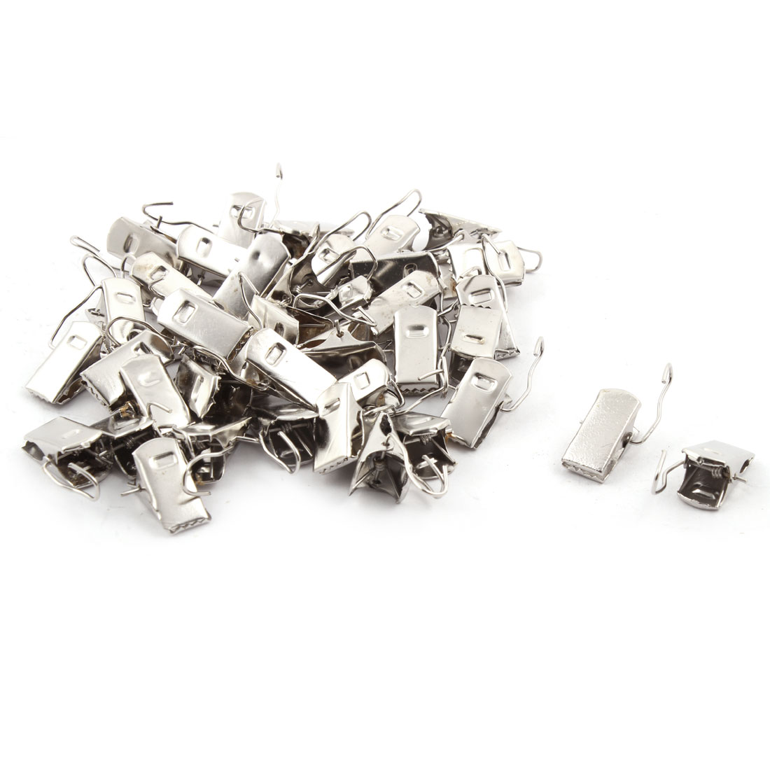 40 Pcs Silver Tone Metal Sprung Curtain Alligator Clips w Hook