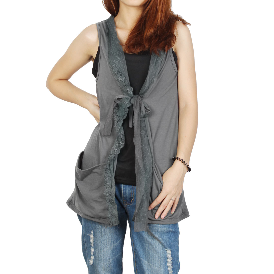 Close Fitting Slip Tank Top Black + Opening Front Shirt Pure Gray XS for Women