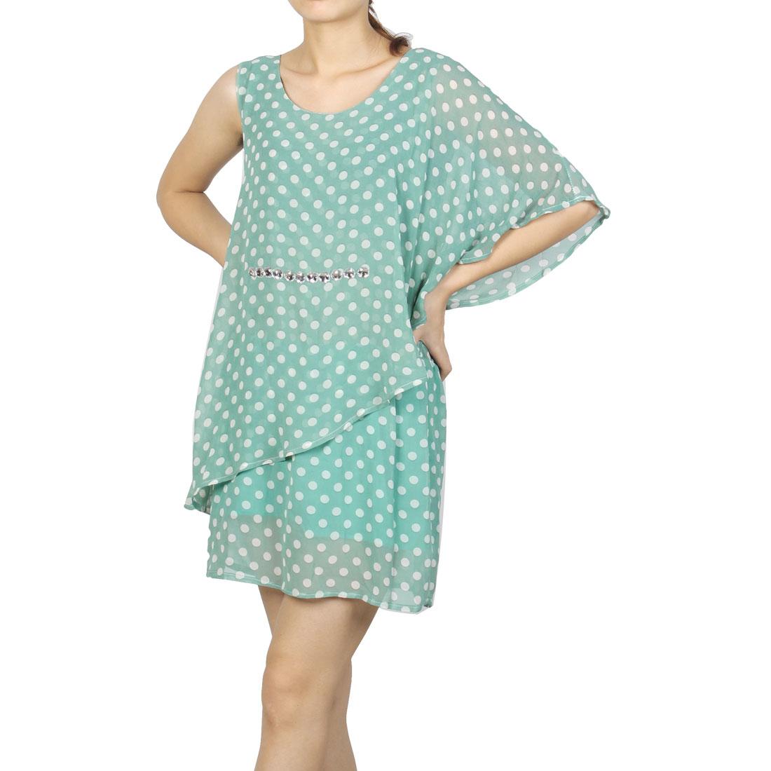 Women Round Neck Green White Dots Print Casual Chiffon Dress XS