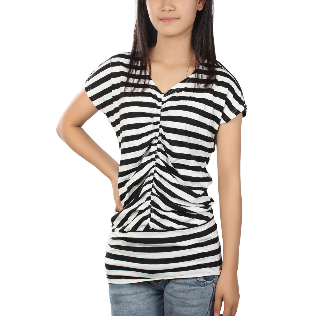 Woman Black White Stripes Pattern Ruffled Stylish Leisure T-Shirt XS