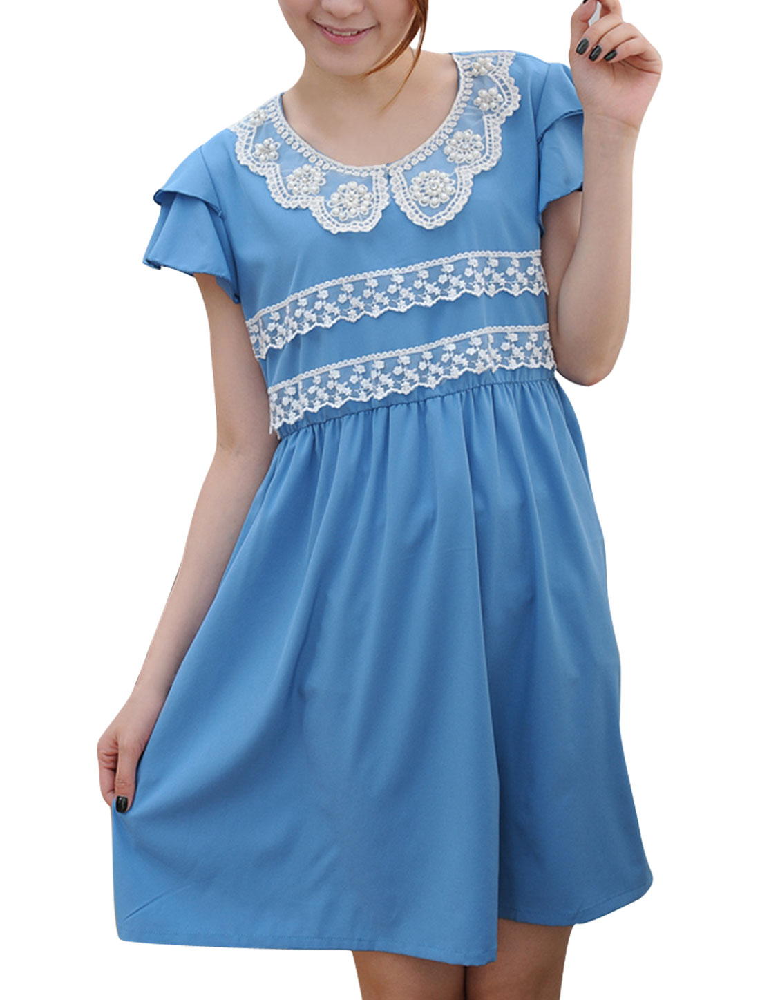 Motherhood Cap Sleeve Plastic Pearls Decor Chiffon Modern Dress Sky Blue S