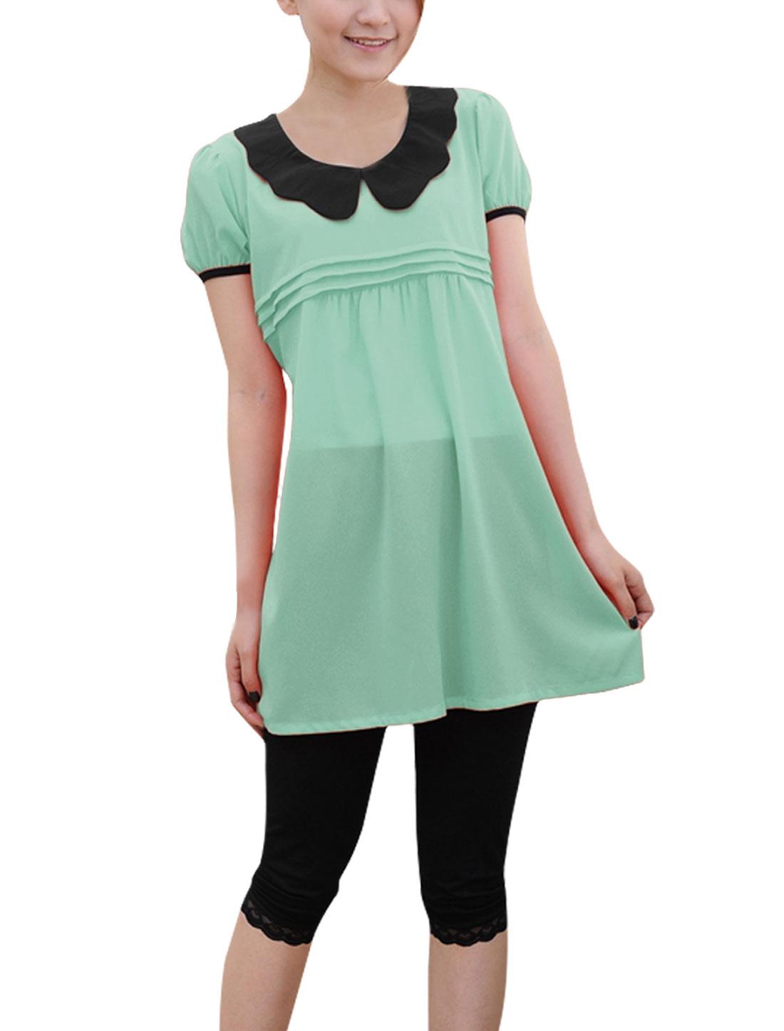Pregnant Women Summer Wearing Short-sleeved Fashion Shirt Light Green L