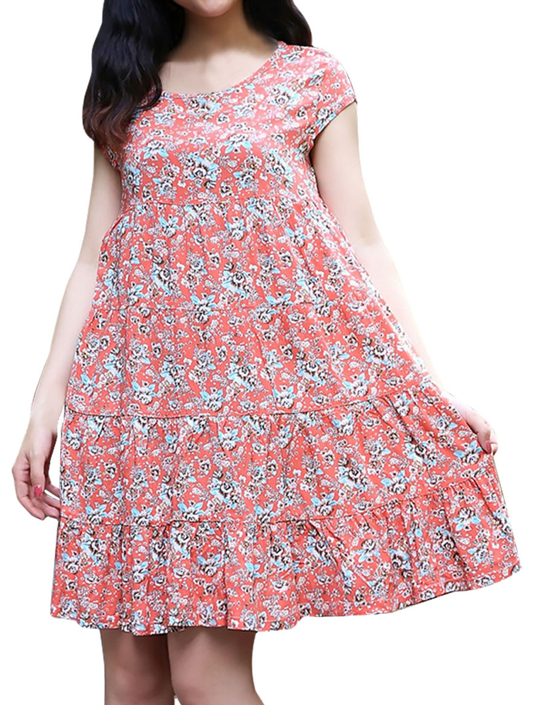 Maternity Floral Prints Round Neck Fashion Loose Dress Pink M
