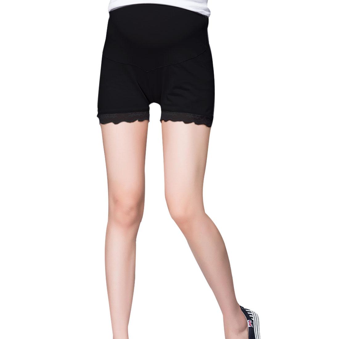 Maternity Black Adjustable Waistband Slim Fitting Short Leggings XS
