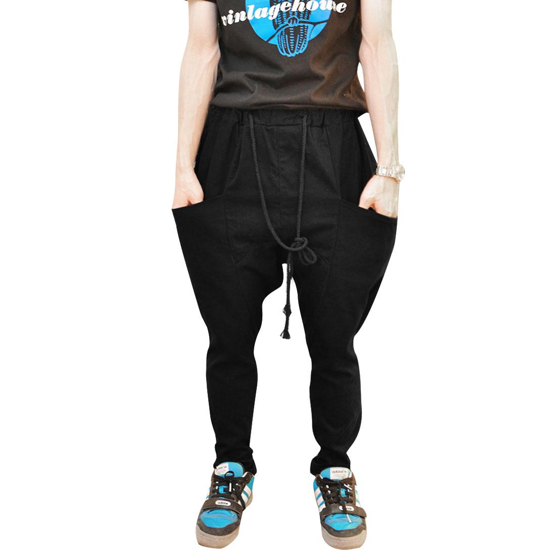 Mens Modern Drawstring Waistband Slit Front Pockets Black Harem Pants W31