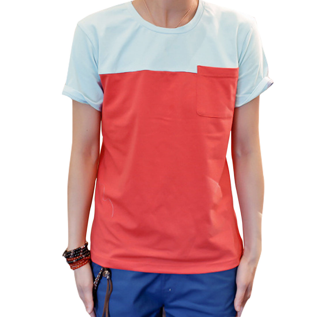 Men Round Neck Pullover Short Sleeve Color Blocking Chest Pocket Shirt Pale Blue Watermelon Red M