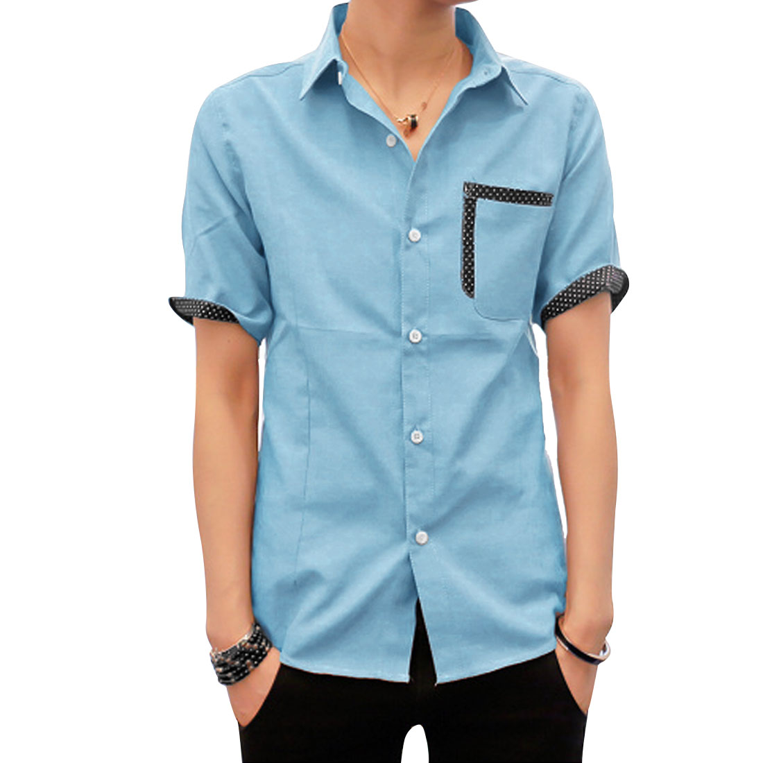 Men Point Collar Button Up Short Sleeve Chest Pocket Round Hem Dots Decor Shirt Pale Blue S