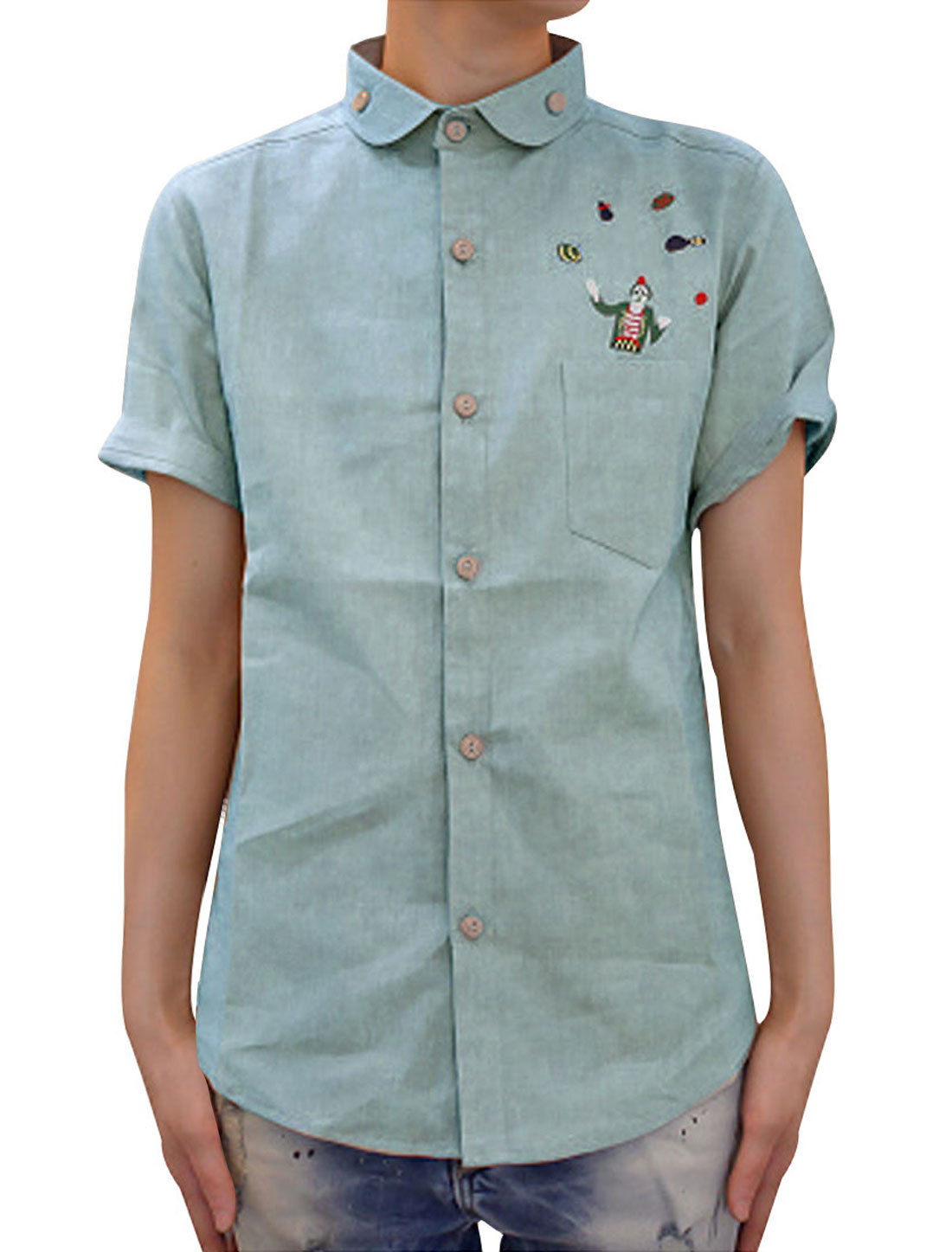 Men Point Collar Single Breasted Short Sleeve Chest Pocket Round Hem Embroidery Clown Shirt Pale Blue S