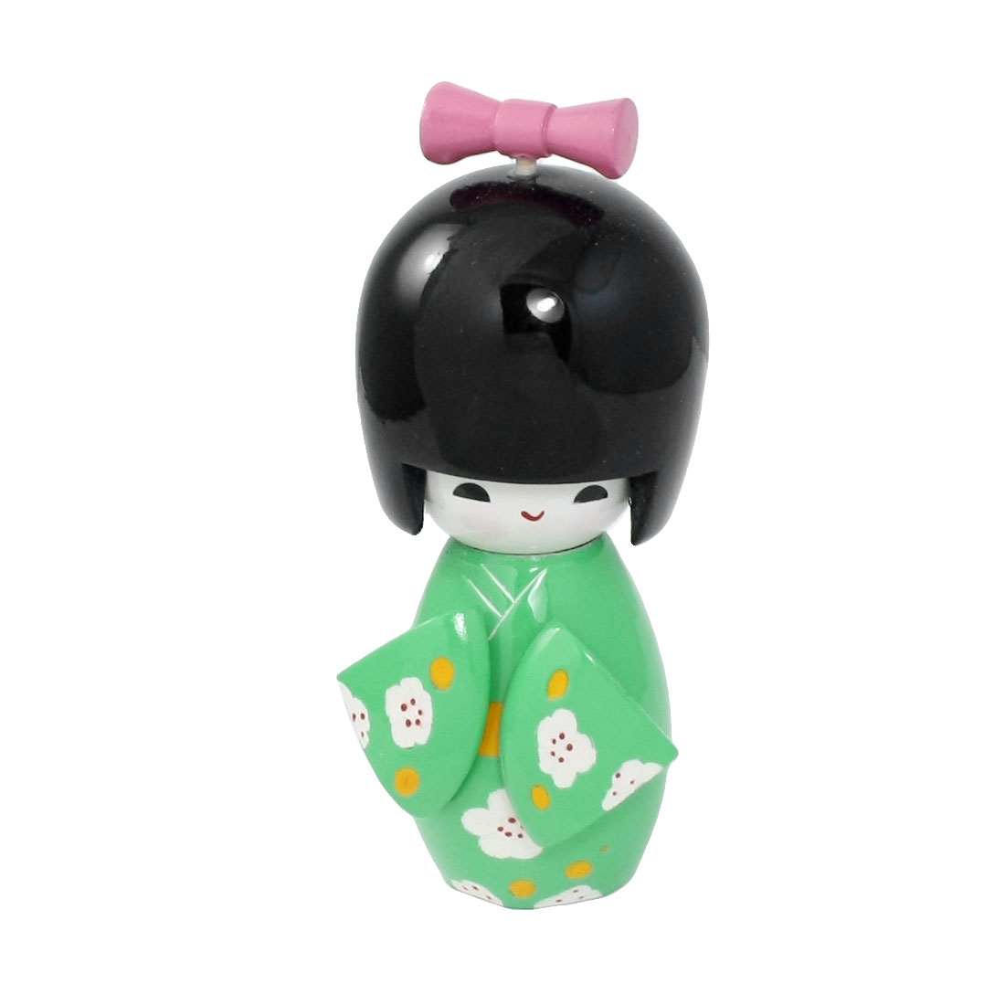 Flower Pattern Green Kimono Japanese Kokeshi Toy for Home Office