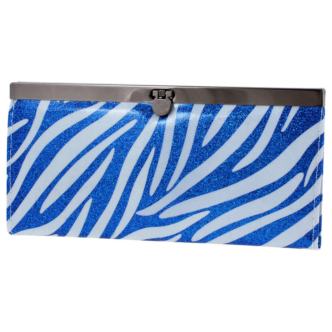 Zebra Pattern Flip Lock Closure Faux Leather Wallet Purse Blue White for Women