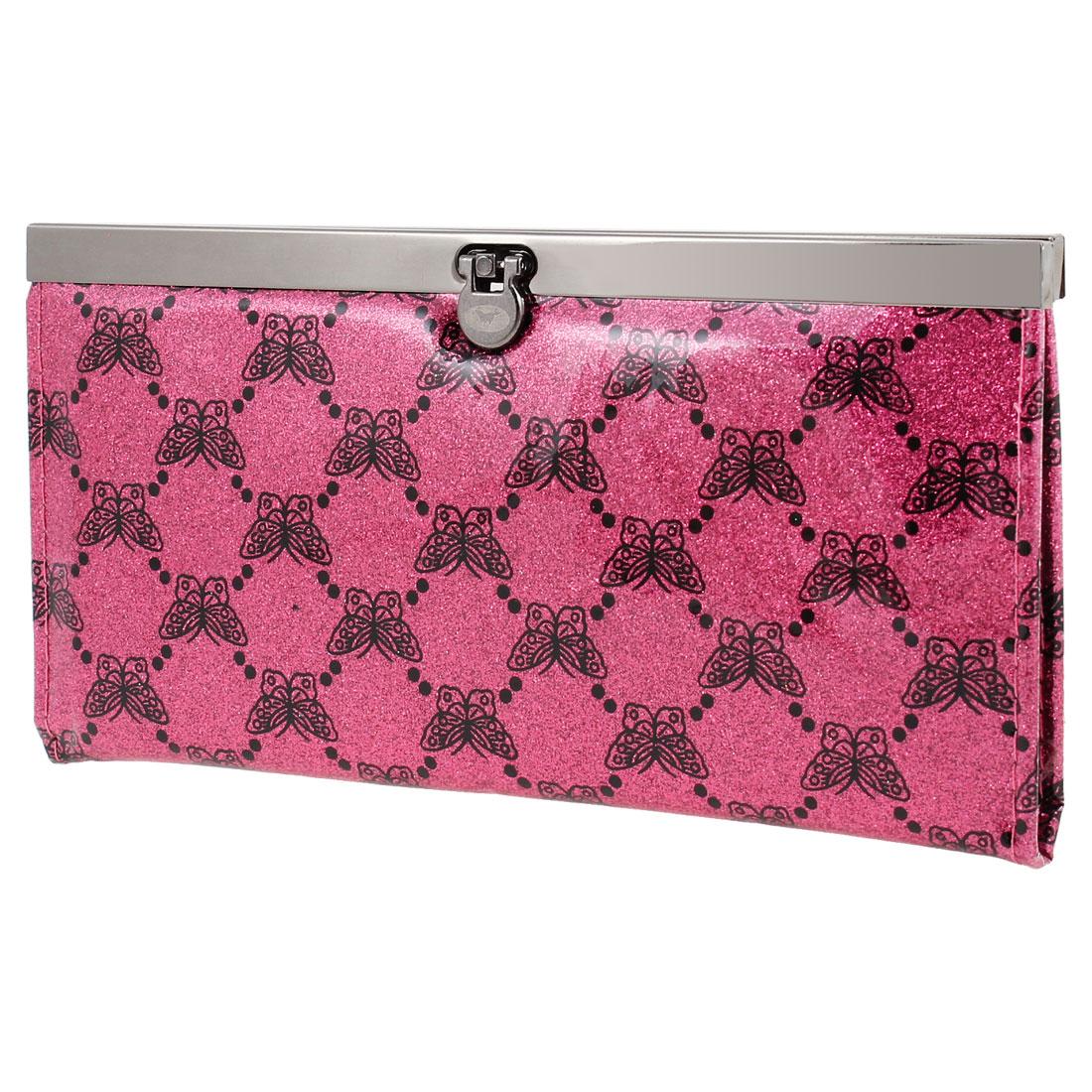Butterfly Pattern Flip Lock Closure Faux Leather Wallet Purse Dark Pink for Women