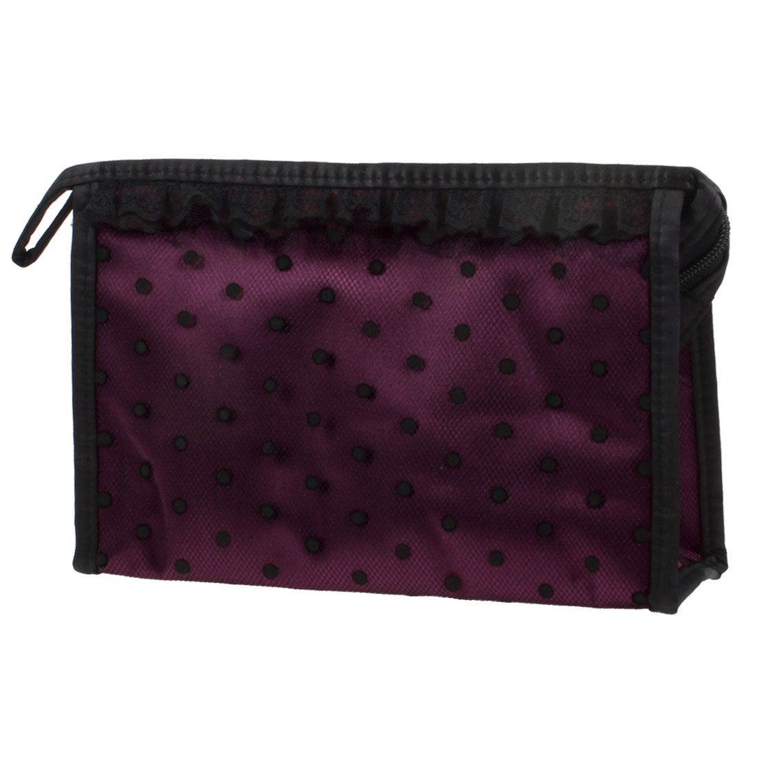 Zip up Closure Black Dotted Mesh Lace Makeup Cosmetic Holder Hand Bag Burgundy