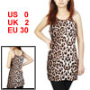 Ladies Leopard Pattern Sleeveless Tunic Tank Top Coffe Color Beige XS