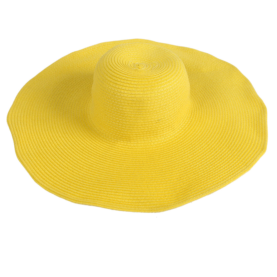 Traveling Hiking Braided Visor Hat Summer Cap Yellow for Woman