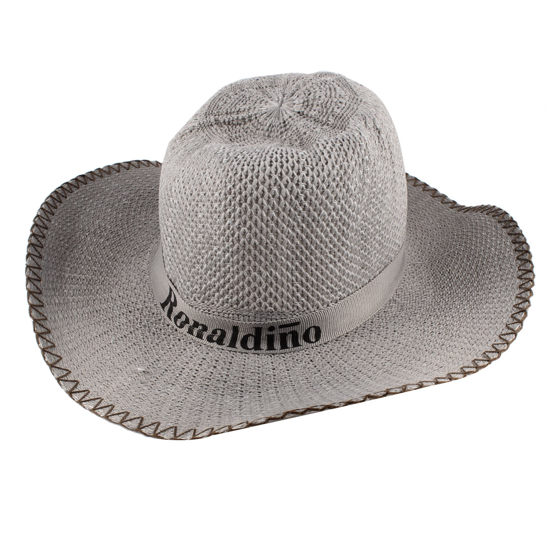 Man Letters Pattern Band Cowboy Hat Cap Gray w Adjustable Strap
